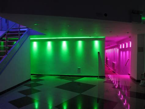 Colorful Ceiling Lights Atrracive Colorful Led Lights Decors Set On Ceiling As Well White Black Floor And Stairscase