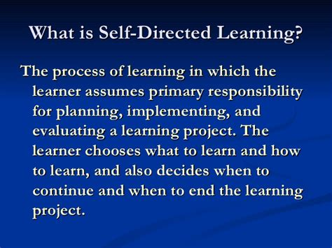 what is selves what is self directed learning