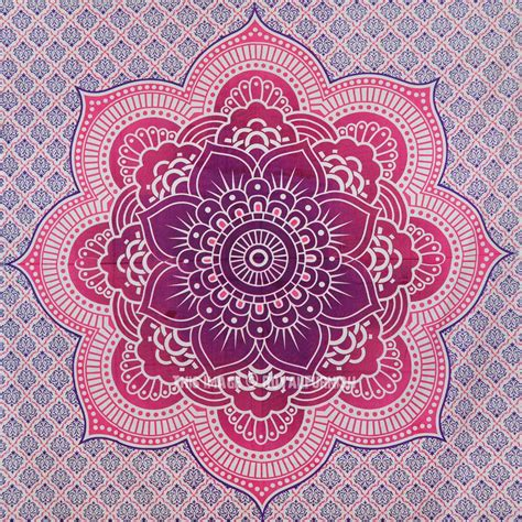 Indian Home Decor by Pink Flower Of Life Geometric Ombre Mandala Wall Tapestry