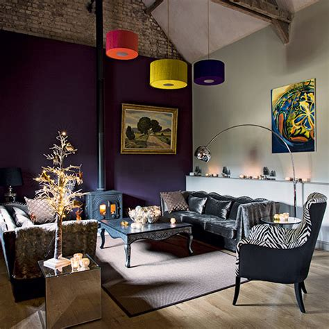 modern living room purple couch interior design purple living room with grey velvet sofa decorating
