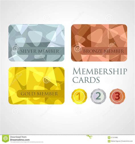 membership card template gold silver and bronze cards and medals set in stock