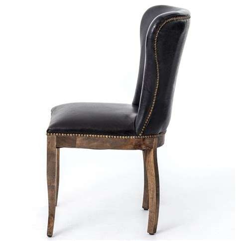 Top Grain Leather Dining Chairs by Cornelius Top Grain Cigar Black Leather Weathered Oak