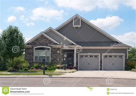 small 2 car garage homes cute small house with two car garage royalty free stock images