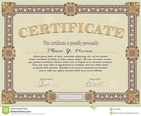 vintage certificate template certificate template stock images image 31634994