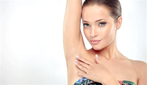 White Smooth Axillary 1 armpit epilation lacer hair removal holding arms up and showing underarms