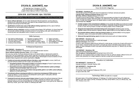 resume format for software tester experienced qa software tester resume sle
