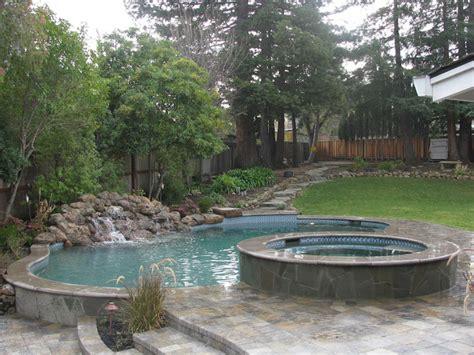 sloped backyard pool pool spa waterfall in sloped yard mediterranean pool