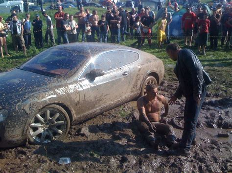 mudding cars ouch bentley continental gt bogged down in mud bath