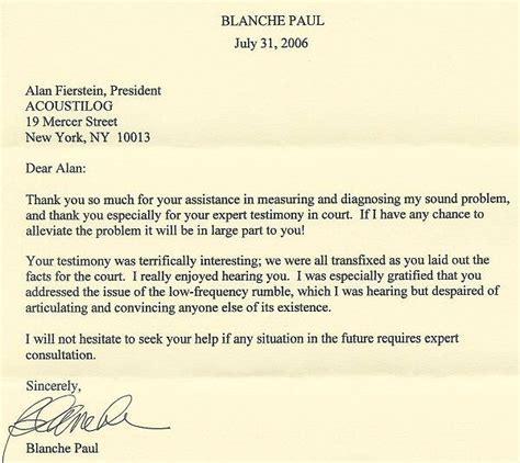 Customer Win Back Letter acoustilog incorporated testimonial letters