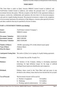 Venture Capital Term Sheet Template by Sle Term Sheet For Excel Pdf And Word