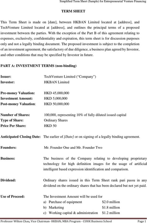 download sle term sheet for free formtemplate