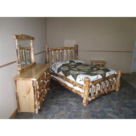 Aspen Log Bedroom Furniture Rustic Aspen Log Complete Bedroom Set Includes Bed 6 Drawer Dresser Mirror Nightstand