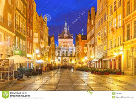 Gothic House Plans Long Lane And Golden Gate Gdansk Old Town Poland Stock