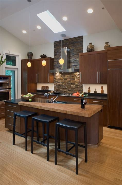 japanese style kitchen with skylights asian kitchen beautiful stacked stone wall with hood skylight and