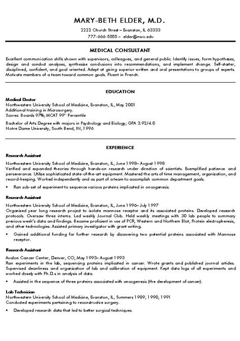 doctor resume exle exles and