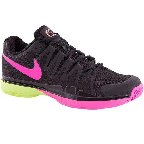 black nike tennis shoes womens nike zoom vapor 9 5 tour s tennis shoe black pink volt