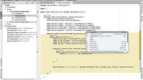 android studio registration tutorial android studio tutorial new login register 4 register