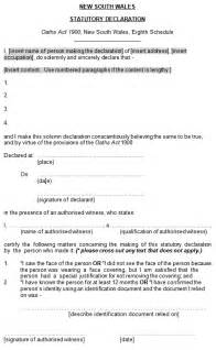 Statutory Declaration Name Change Template how to complete australian statutory declarations