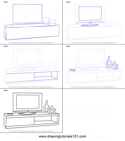 how to draw bedroom step by step how to draw tv unit printable step by step drawing sheet