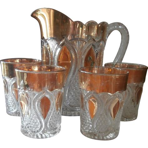 new jersey pattern glass antique water set eapg pressed glass loops drops new