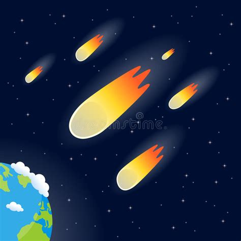 falling comet in the earth s atmosphere background hd comets meteors or asteroids falling stock vector