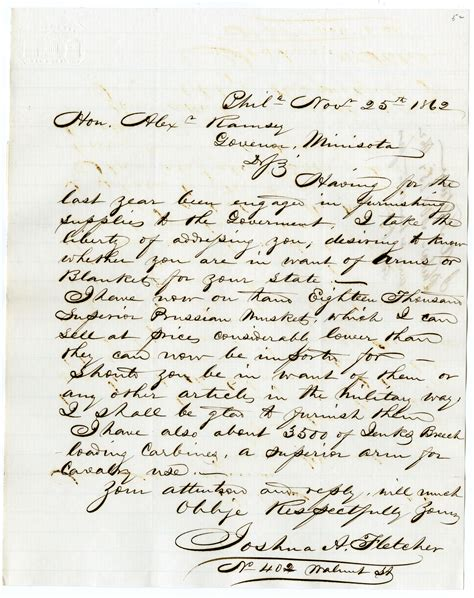 Closing Letter Russian Letter To Governor Ramsey From Joshua A Fletcher Of Philadelphia Offering For Sale