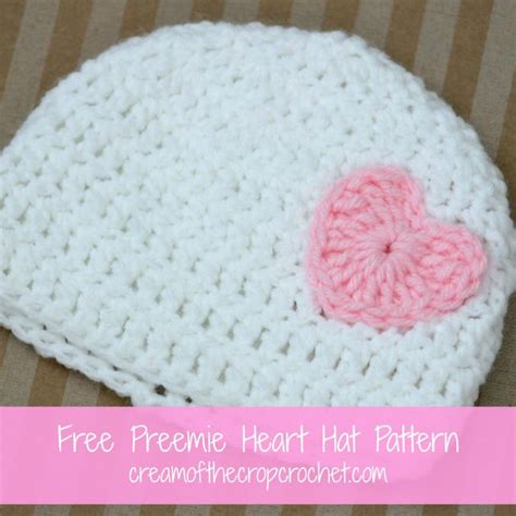 pattern crochet preemie hat cream of the crop crochet preemie heart hat free