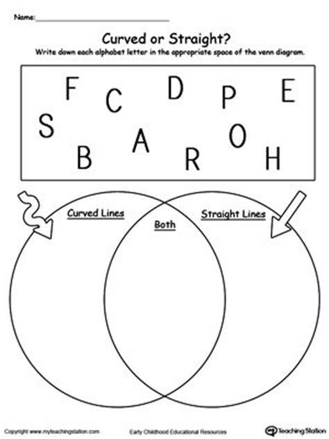 printable venn diagram kindergarten venn diagram alphabet letters curved or straight