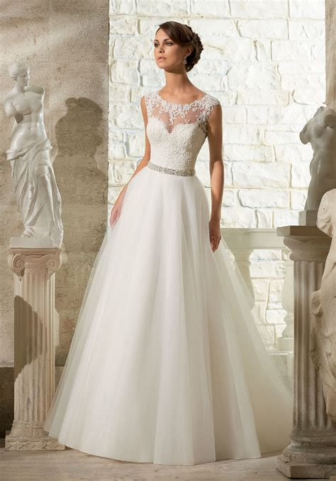 Bridal Dresses - lace appliques on soft tulle morilee wedding dress style
