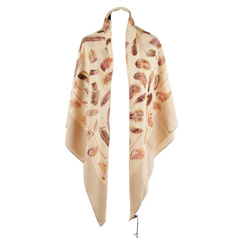 hermes and silk large scarf plumes feathers