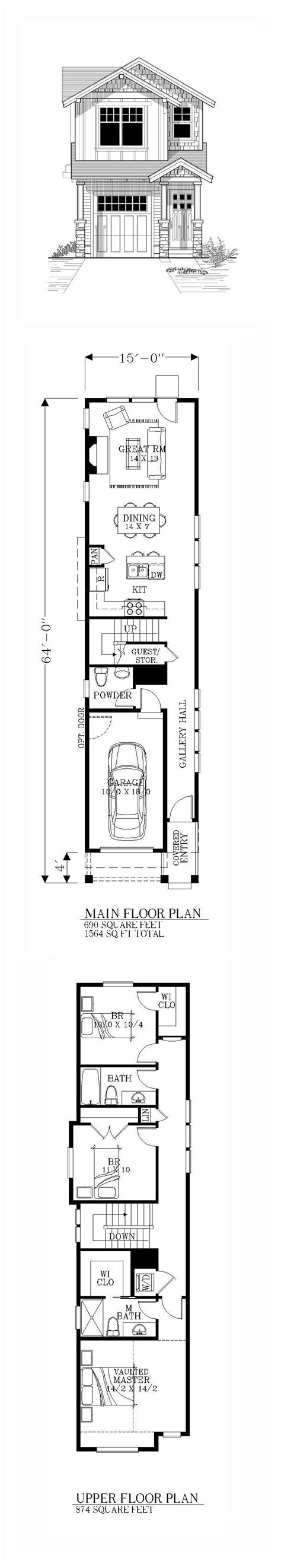 Narrow Lot Houseplans by Best 25 Narrow House Plans Ideas On