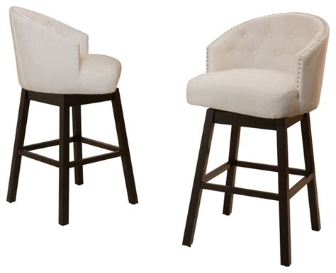 Fabric Bar Stool Chairs by Westman Beige Fabric Swivel Backed Barstool Set Of 2