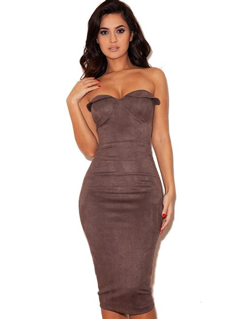Bodycon Dress clothing bodycon dresses pia taupe suedette