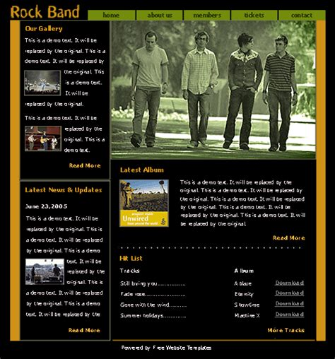 Rock Band Website Template Free Website Templates Band Website Templates