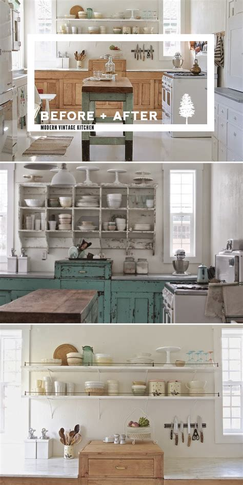 before and after shabby chic to modern vintage kitchen makeover home tree atlas