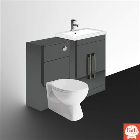 Combination Vanity Units For Bathrooms Newton Anthracite Grey Combination Bathroom Vanity Units Inc Wc Ebay
