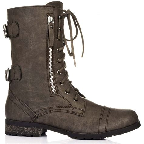 buy primal flat lace up ankle biker boots khaki leather