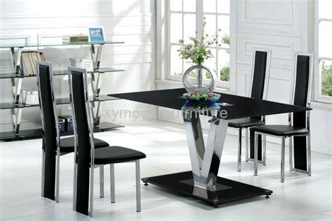 Modern Black Glass Dining Room Table Modern Design Black Tempered Glass Dining Table And Chair