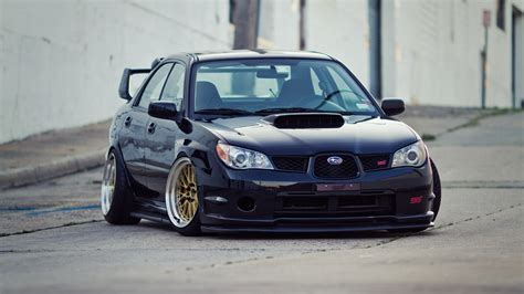 slammed subaru wrx subaru impreza sti slammed low japan car tuning wallpaper