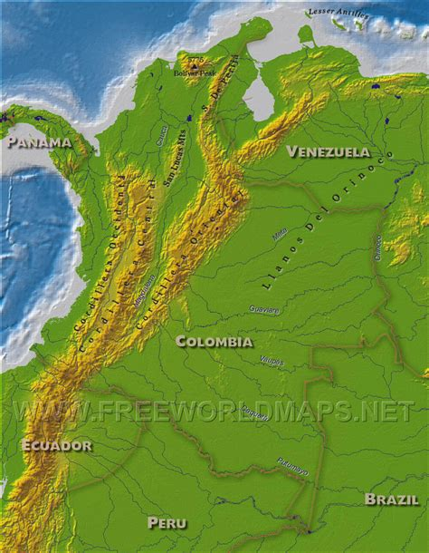 physical map of colombia kolumbien physik karte