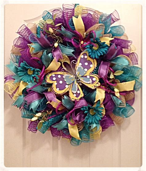 purple and yellow mesh wreath butterfly teal purple and yellow deco mesh wreath mothers day