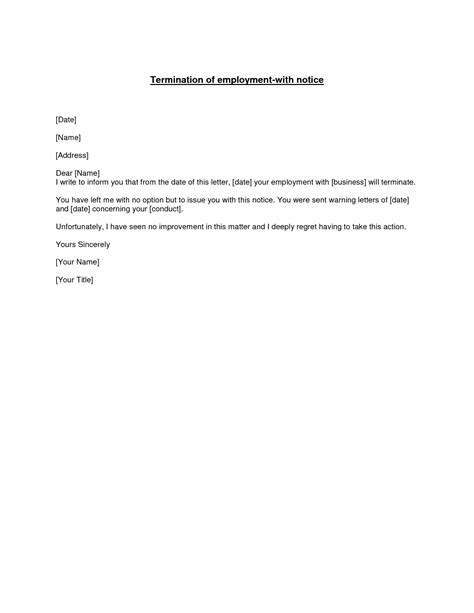 termination of employment notice template best photos of termination of employment employment