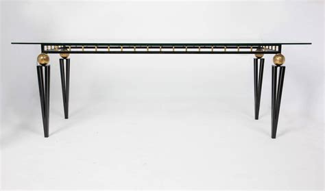 Glass Iron Dining Table Vintage Forged Iron And Glass Dining Table At 1stdibs