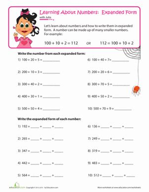 place value: expanding numbers | worksheet | education.com