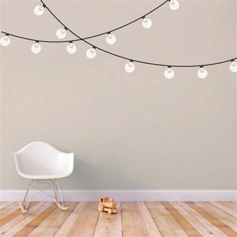 String Lights Wall - string globe lights printed wall decal