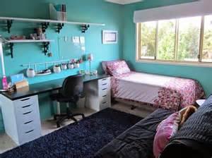 Delightful light blue teenage girls bedroom interior