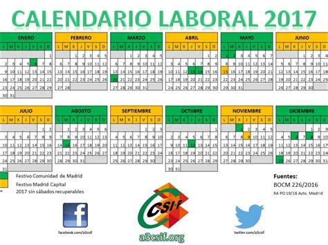 2017 Calendario Laboral Calendario Laboral 2017 A3csif