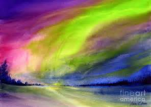 Watercolour Duvet Cover Northern Lights Painting By Hailey E Herrera