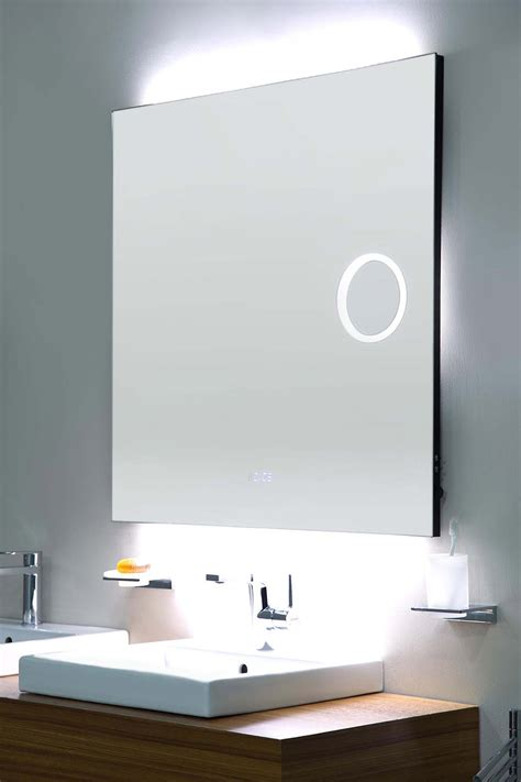 bathroom morrors square frameless mirror with led magnifier digital clock