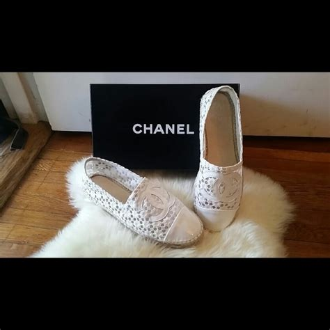 Chanel Wedges Yc B616 264 11 chanel shoes new chanel white lace espadrilles